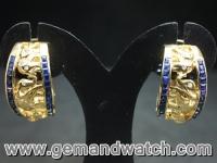 EA562ต่างหูทองคำประดับเพชร ไพลิน