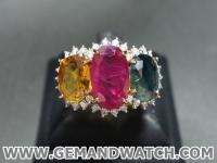 RI2563แหวนพลอย 3 สี ประดับเพชร