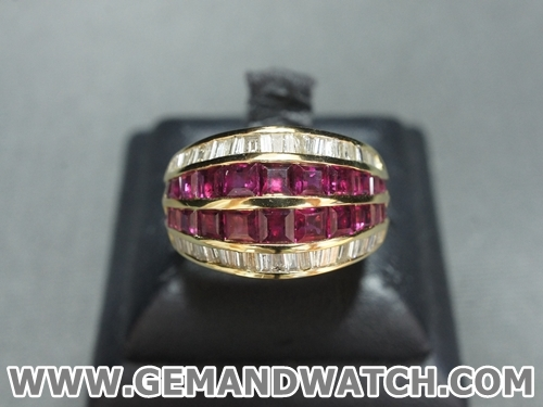 RI3390แหวนทับทิมประดับเพชร