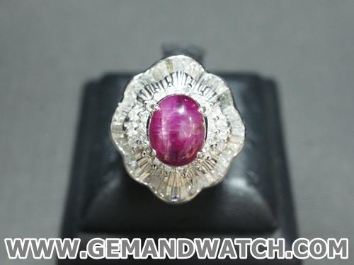 RI3392แหวนทับทิม(สตาร์)ประดับเพชร