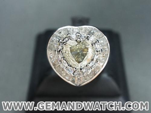 RI3400แหวนเพชรหัวใจประดับเพชร