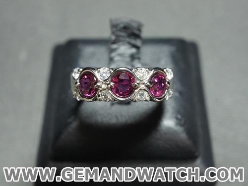 RI3408แหวนทับทิมประดับเพชร