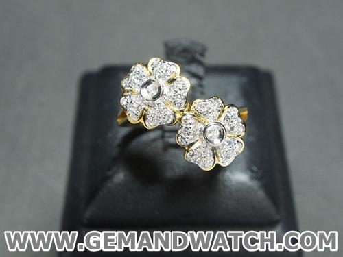 RI3414แหวนเพชรดอกไม้