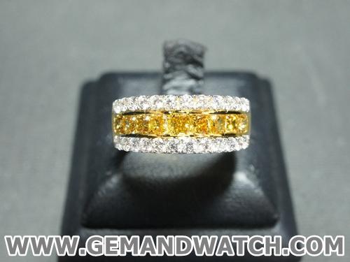 RI3440แหวนเพชรสี Fancy ประดับเพชร
