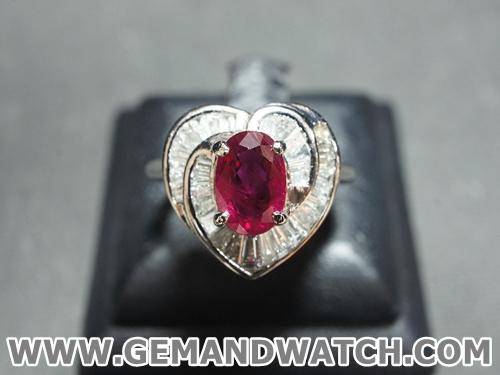 RI3470แหวนทับทิมประดับเพชร