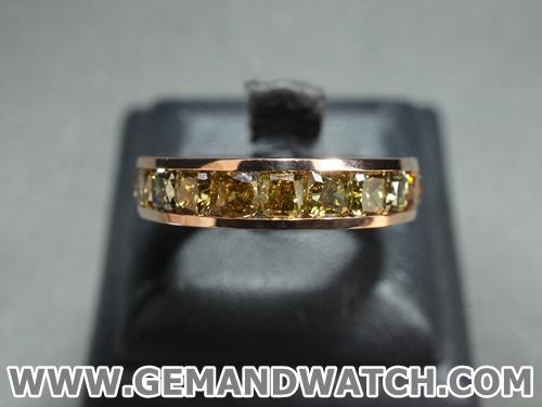 RI3485แหวนเพชร Fancy สีธรรมชาติรอบวง