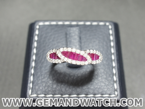 RI3603แหวนทับทิมประดับเพชร