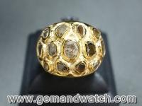 AT672แหวนทองคำประดับเพชรซีก