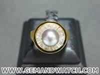 RI3412แหวนทองคำประดับมุก