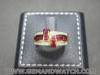 RI3657แหวนทับทิมประดับเพชร